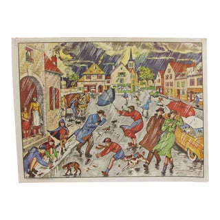 Vintage Mid-Century Double Sided Rainy Weather & Hunting School Poster For Sale