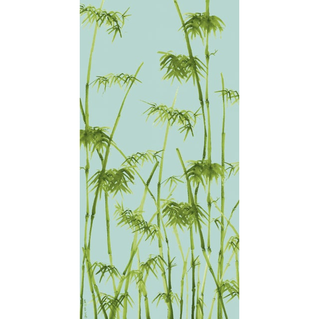 Contemporary Bambusa Breeze/Peridot Linen Cotton Fabric, 3 Yards For Sale - Image 3 of 3