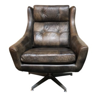 Contemporary Restoration Hardware Motorcity Leather Swivel Chair