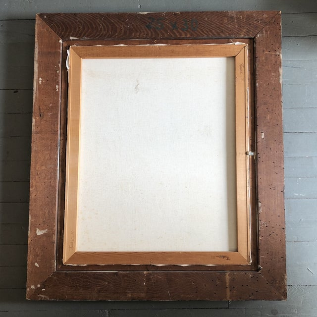 1990s Original Contemporary Stewart Ross Modernist Roof Top Abstract Large Painting Vintage Modernist Frame For Sale - Image 5 of 6