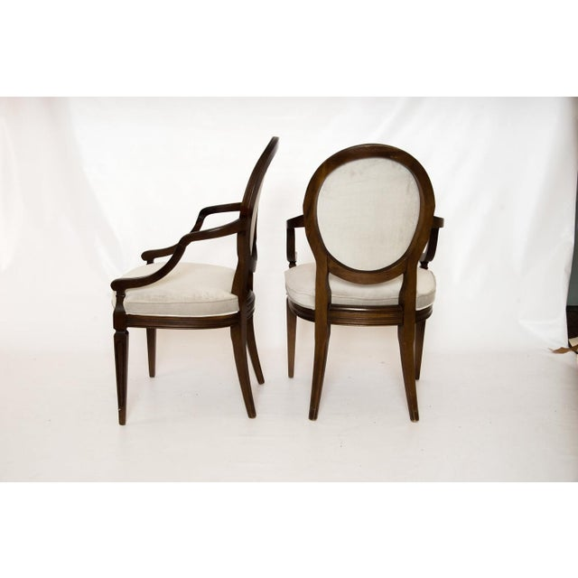 Louis XVI Gray Velvet Dining Chairs - Set of 8 - Image 4 of 9