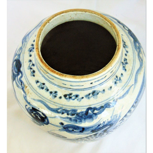 2010s Blue & White Phoenix Storage Jar For Sale - Image 5 of 7