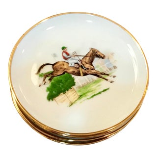 Vintage Steeplechase Appetizer Plates - Set of 4 For Sale