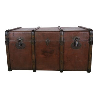 19th C. French Leather Trunk W/ Brass Hardware For Sale