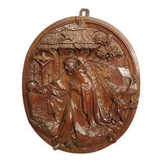 A Carved 18th Century Oval Wooden Religious Plaque from France For Sale