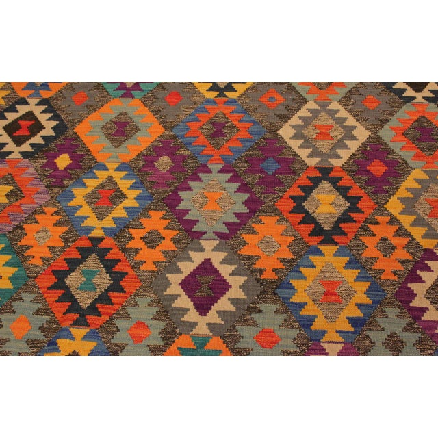 Textile Mary Gray/Blue Hand-Woven Kilim Wool Rug -5'10 X 8'4 For Sale - Image 7 of 8
