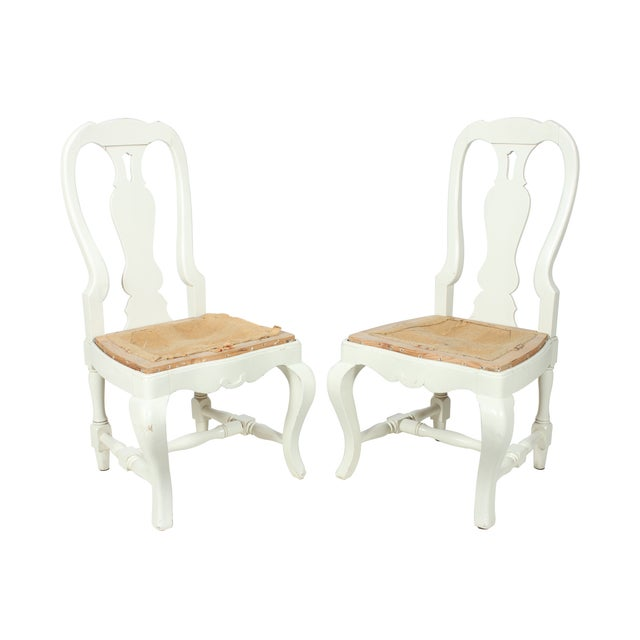 French Country Farm Chairs - A Pair - Image 1 of 3