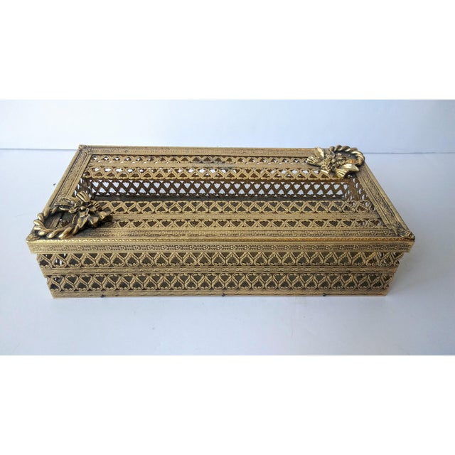 Regency Glam Ormolu Gold Filigree Tissue Box For Sale - Image 4 of 5