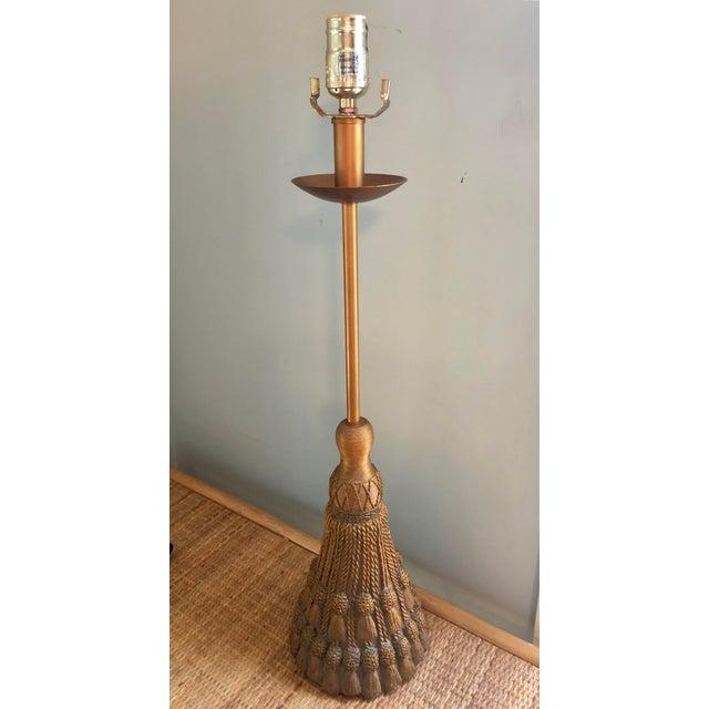 Hollywood Regency Metallic Tassel Lamp For Sale In Charleston - Image 6 of 6
