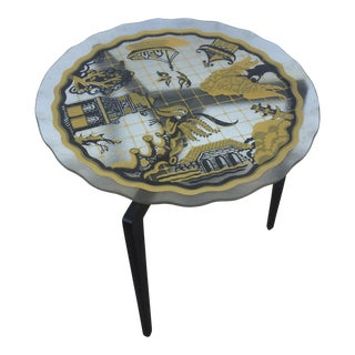 Scalloped Edge Asian Painted Table For Sale