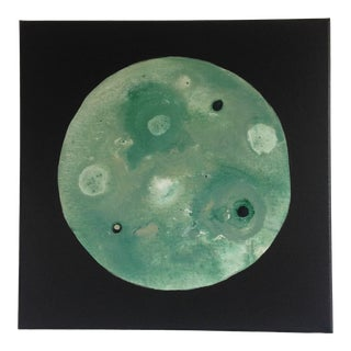 Abstract Sage Green and Celadon Moon Painting For Sale