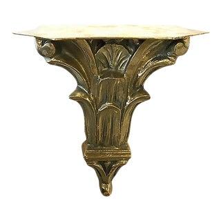 Vintage Solid Brass Shelf For Sale