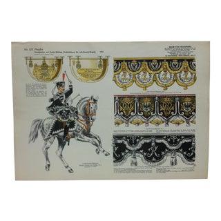"Vintage Mid-Century ""No. 123 - Preuben - Der Leib - Husaren - Brigade - 1914"" Original German Military Uniform Print For Sale"