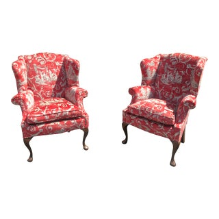 Pair of Petit Antique Queen Anne Wingback Arm Chairs W Red Romantic Velvet For Sale