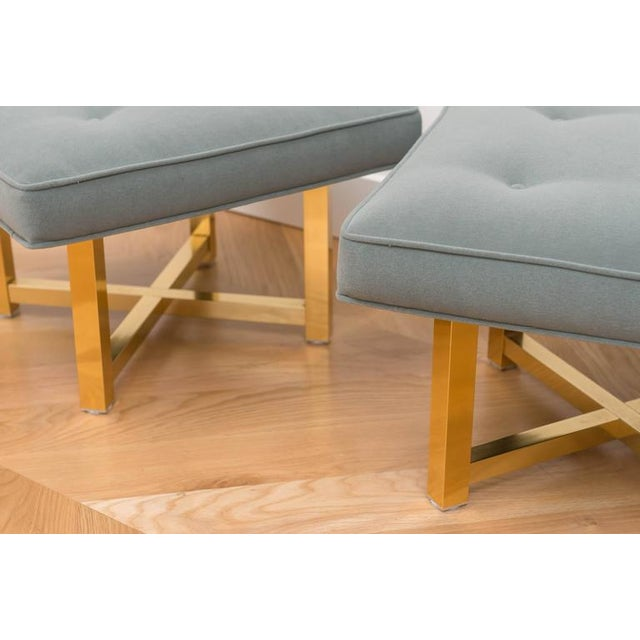 Low Brass Base Ottomans - A Pair For Sale - Image 5 of 6