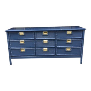 1970s Campaign Stanley Style Navy Faux Bamboo 9-Drawer Dresser