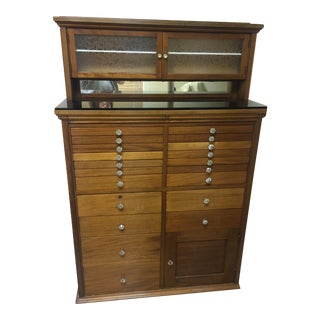 Antique Wooden Dental or Jewelry Cabinet For Sale