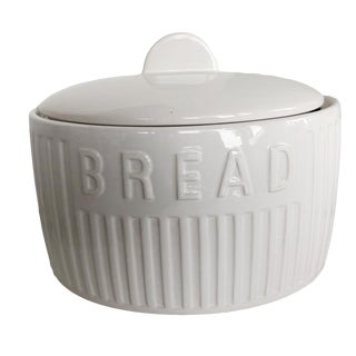 1980s Art Deco Style Rayware White Ceramic Bread Box For Sale