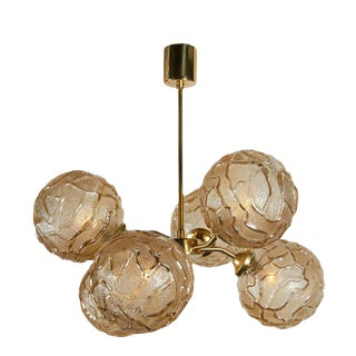 French Mid-Century Sputnik Chandelier with Champagne Glass Globes For Sale