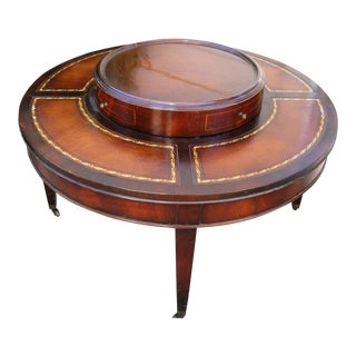 1950s Regency Style Leather Top Mahogany Coffee Table With Lazy Susan Turntable