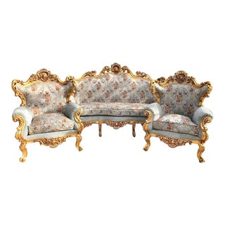 1940s Vintage Baroque Rococo Seating Set - 3 Pieces For Sale