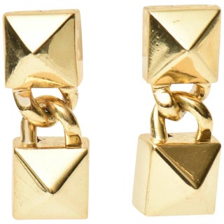 Signed Fallon Hermes Style Sculptural Pierced Earrings - a Pair For Sale