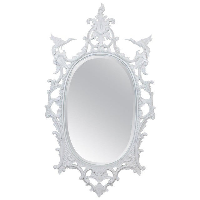 Large Chinese Chippendale Style Oval Painted Mirror For Sale