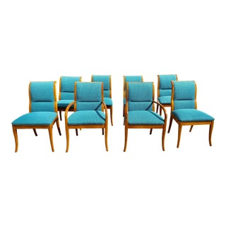 Henredon Blue Velvet Upholstered Dining Chairs - Set of 8 For Sale