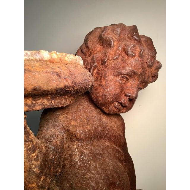 19th Century Victorian Cast Iron Cherub // Statue / Planter / For Sale In Los Angeles - Image 6 of 13