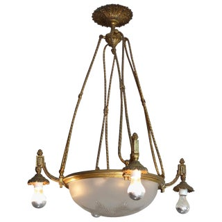 French 1940's Bronze Chandelier With Four Arms, Four Inside Lights and Four Outside Lights For Sale