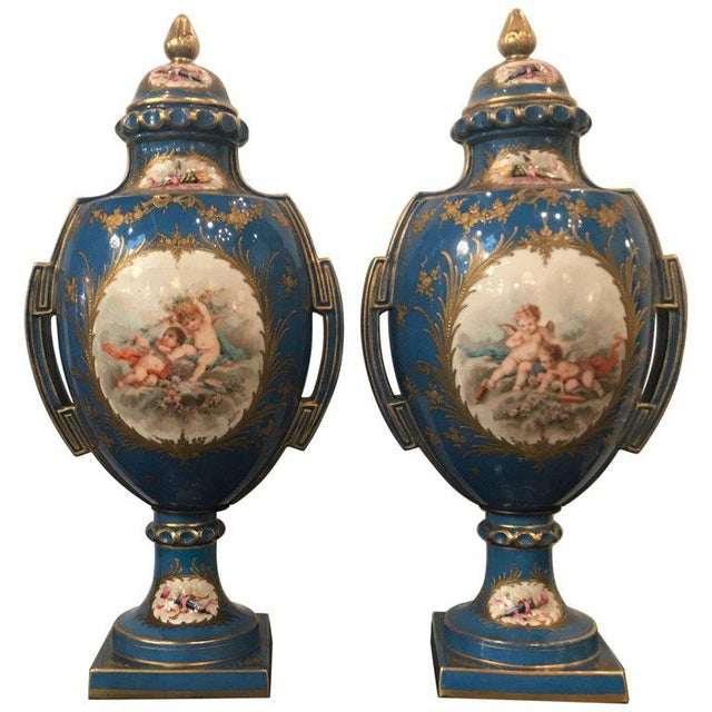 A Pair of Antique French Hand Painted Porcelain Mantle Urns For Sale - Image 13 of 13