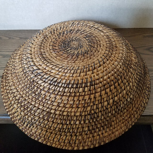 Late 20th Century Rattan Coiled Basket Bowl Wall Art For Sale - Image 5 of 6