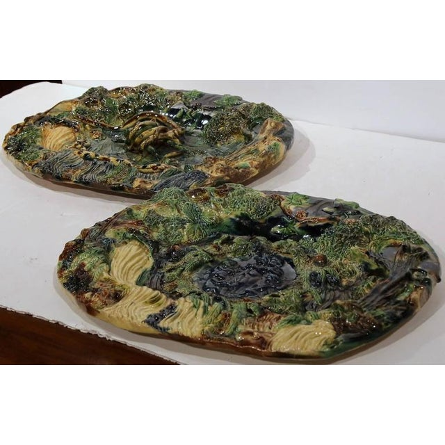 19th Century French Barbotine Hand Painted Majolica Palissy Platters - A Pair - Image 6 of 11