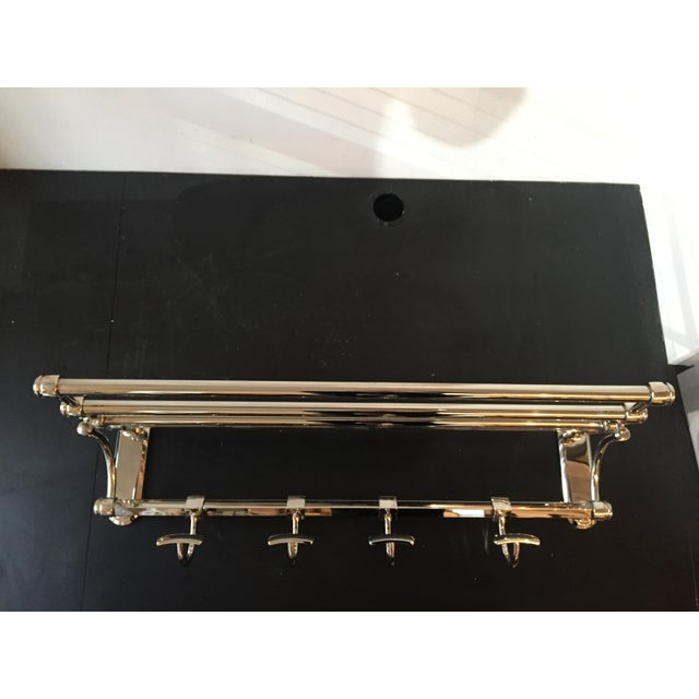 """Wall mounted Restoration Hardware """"Lugarno"""" bathroom train rack for sale (polished nickel). Piece retails for $395. Piece..."""