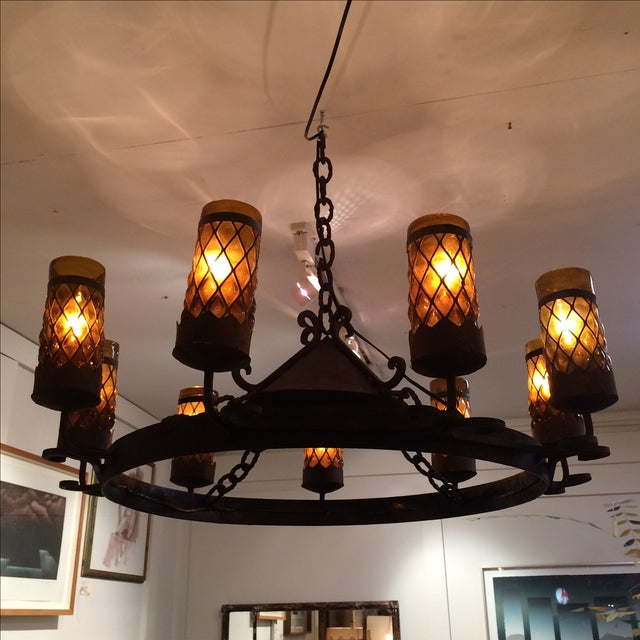 Spanish Revival Wrought Iron Chandelier - Image 2 of 7