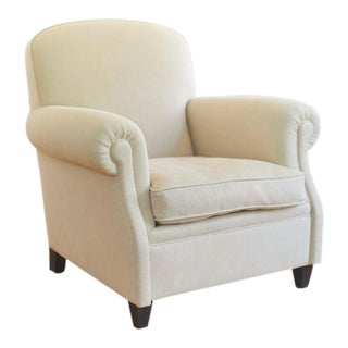 Custom Made Beige Linen Club Chair For Sale