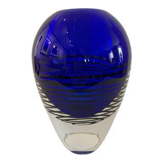 Mid 20th Century Modern Art Glass Cobalt Blue and Black Vase For Sale