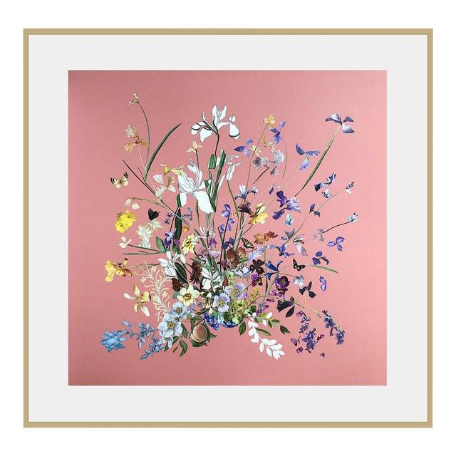 Meadow Floral Collage by Marcy Cook, Framed For Sale