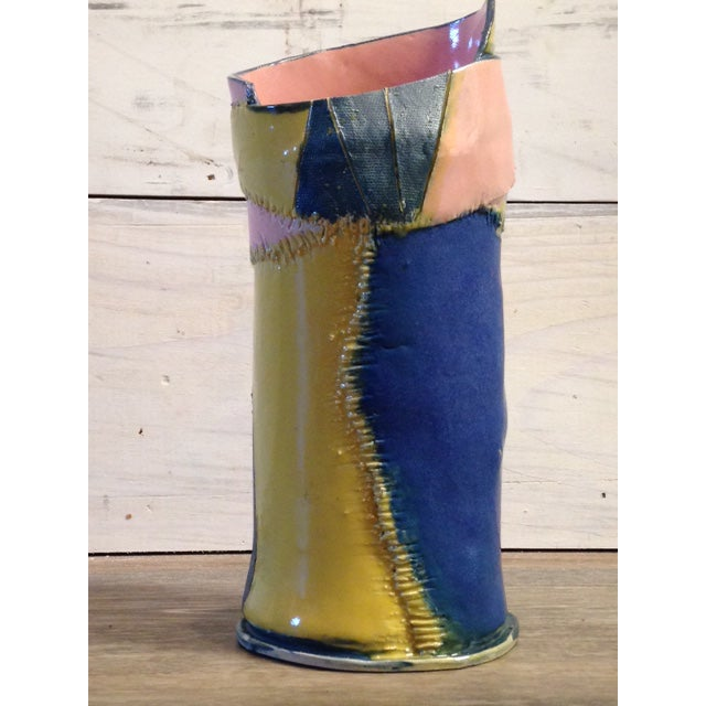 Handmade Yellow Pink and Blue Ceramic Vase by Marsha Plafkin For Sale - Image 6 of 6