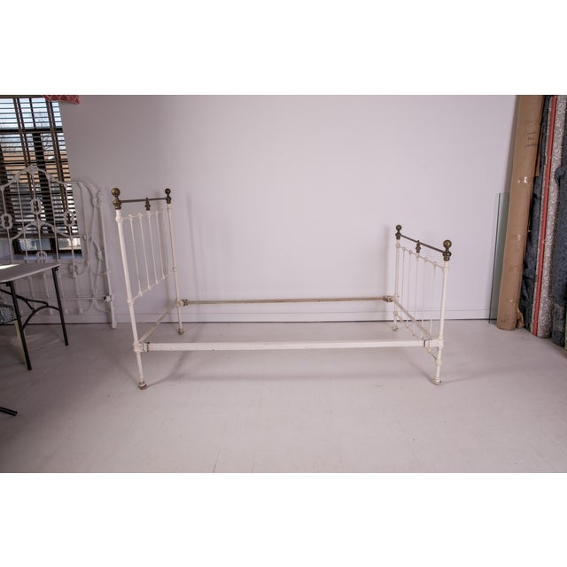 Shabby Chic 1910s Shabby Chic White Iron Victorian Bedframe For Sale - Image 3 of 12
