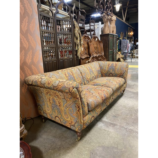 Gorgeous Italian sofa covered in beautiful Etro paisley tapestry fabric and down stuffed cushions. Very comfortable and...