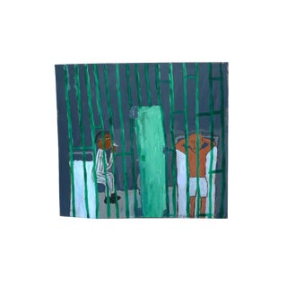 Earl Swanigan Painting - Prison Scene With Two Figures For Sale