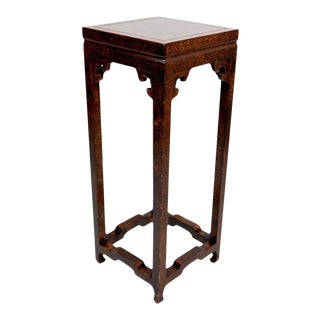 Chinese Faux Tortoise Shell Tall Pedestal Table For Sale