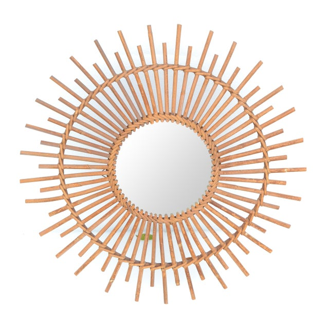 Bohemian Chic French Handcrafted Round Ficks Reed & Woven Wicker Wall Mirror For Sale - Image 12 of 13