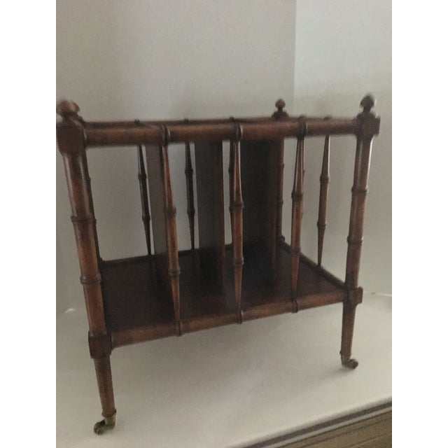 Traditional Vintage Burl Wood Bamboo Side Table Magazine Rack For Sale - Image 3 of 11