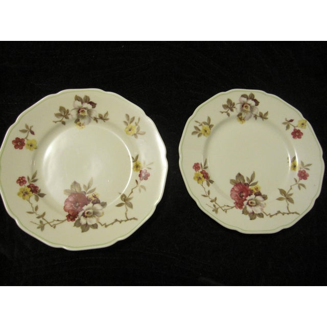"""2 vintage flowered plates (Apple Blossom). 6"""". Marked Royal York China Hohenberg, Germany. Minor scratches, otherwise..."""