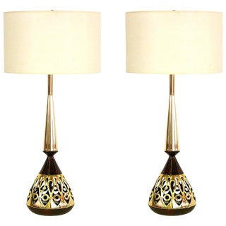 1960s Vintage Tony Paul for Westwood Walnut & Brass Lamps- A Pair For Sale