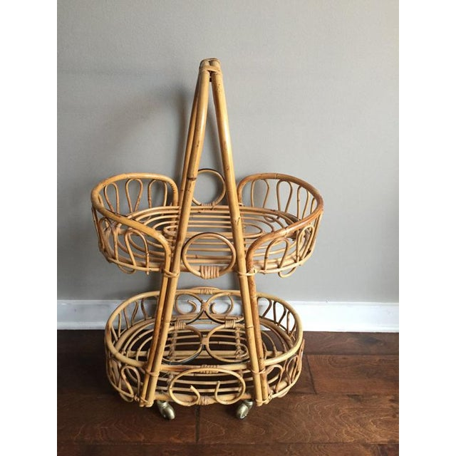 Boho Chic Vintage Rosenthal Netter Bamboo & Rattan Bar Cart For Sale - Image 3 of 6
