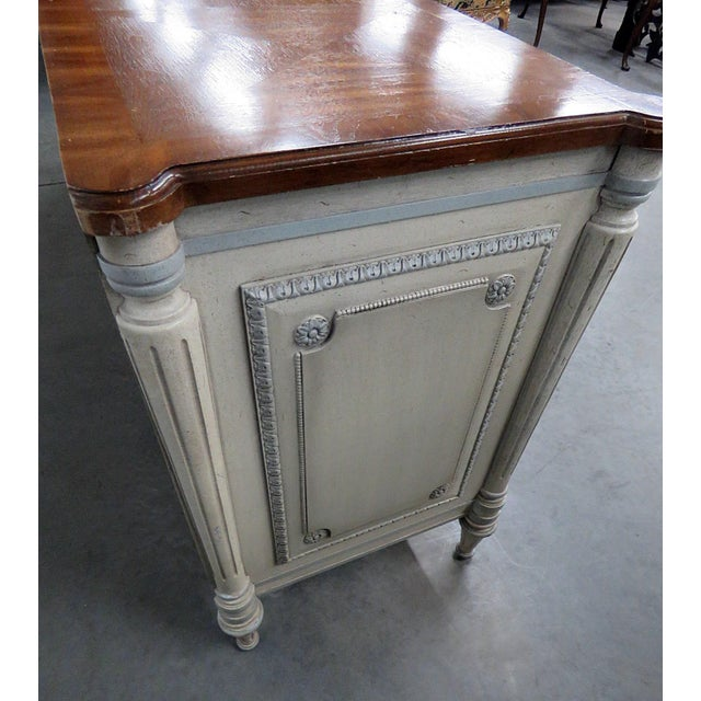 Louis XV Style Fruitwood Top Distressed Painted Sideboard For Sale - Image 12 of 13
