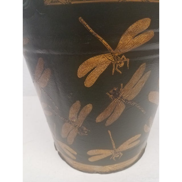 English Antique Dark Green Bucket / Pail With Decoupage Dragonflies - Found in Southern England For Sale In Dallas - Image 6 of 9